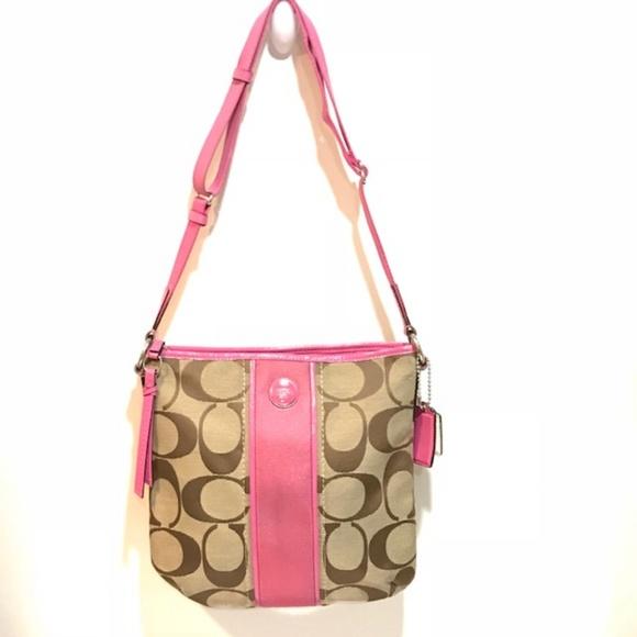 Coach signature strip shoulder bag pink
